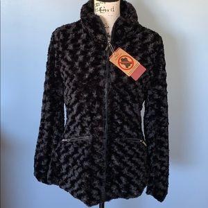 YOKI faux fur black zip up medium jacket